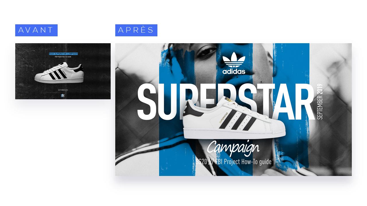 L'identité de marque de Adidas est affirmé par le travail de direction artistique sur ses présentations