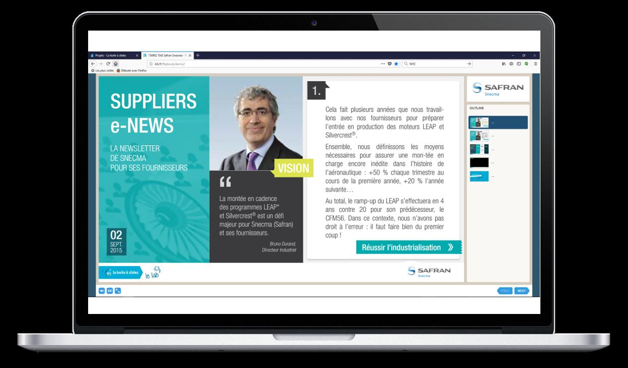 présentation powerpoint web pour l'entreprise SAFRAN
