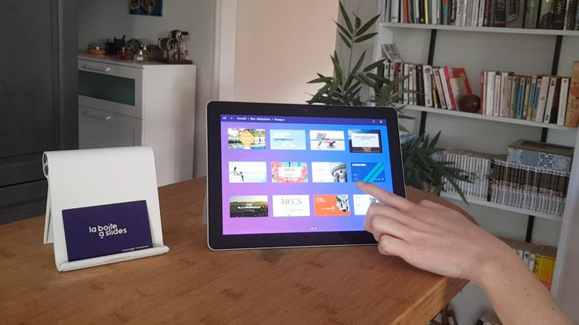 Applicaton Powerpoint sur tablette réalisée par la boite a slides